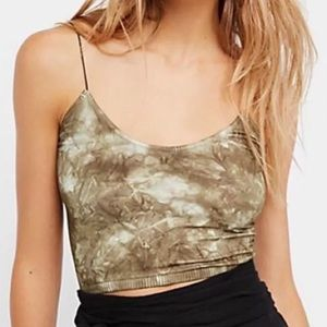 NWT XS / Small Free People Green Tie Dye Crop Top